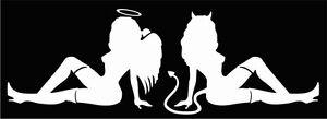 """MUD FLAP, ANGEL & DEVIL GIRLS decals, approx. 3.25""""x 5"""" white vinyl decals"""