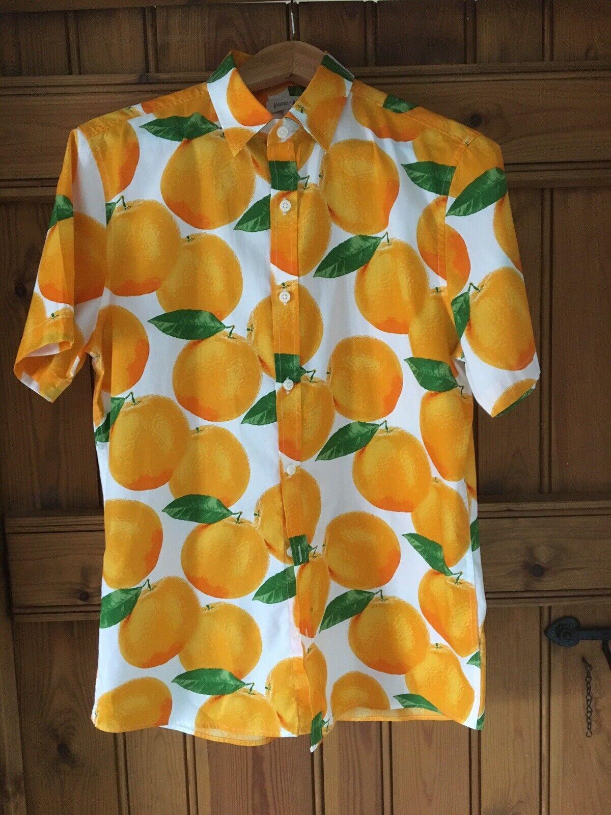 PORTER e arancione cenere stampa Camicia a maniche corte da uomo taglia M