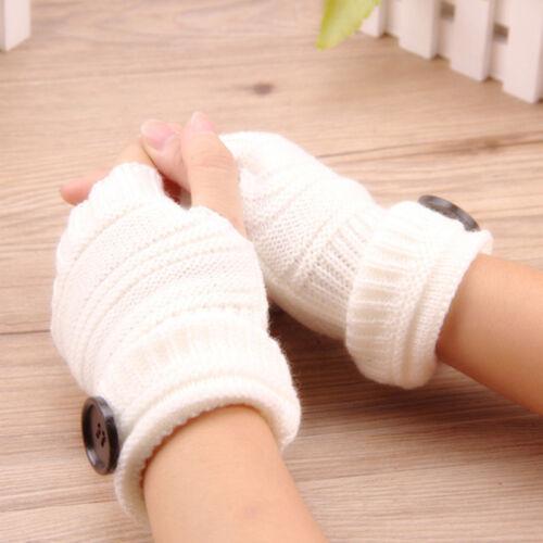 Women Solid Winter Half Finger Fingerless Gloves Wrist Warmer Knitted Mitten S