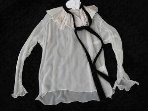 $1995 Chloe Raw Trim Ruffled Overlay Velvet Tie Sheer Silk Georgette Blouse 36
