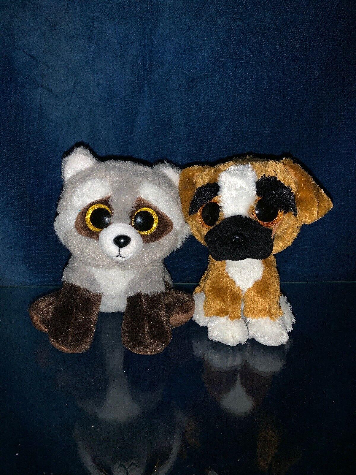 TY Big Eyed Eyed Eyed Brutus The Boxer Dog & Bandit Raccoon 5  Plush Stuffed Animal  ️m9 687058