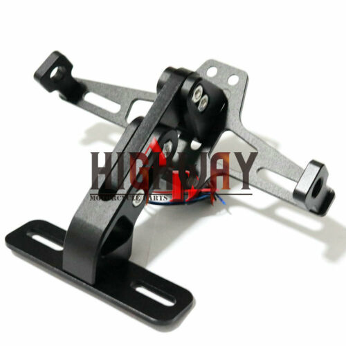 New Motorcycle Adjustable Folding License Plate Holder Tail Light Mount Bracket