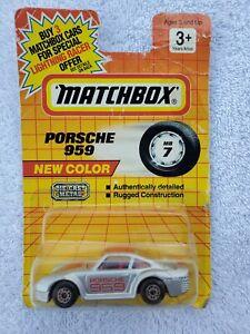 MATCHBOX #7 PORSCHE 959 Die-Cast Car New Color Silver Red 1992 Vintage Sports