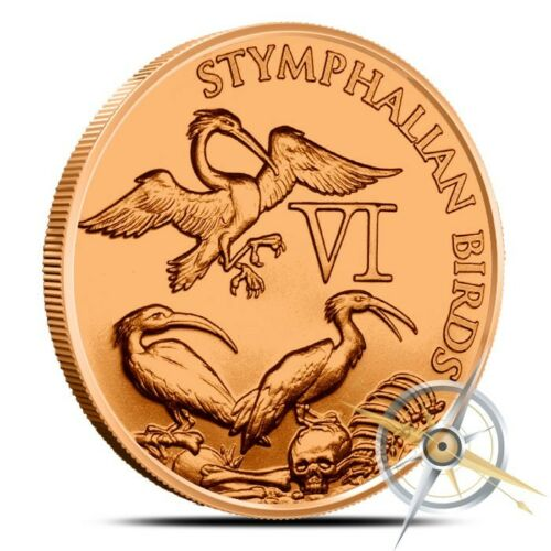 1oz .999 BU copper round Stymphalian Birds 6th of the 12 Labors of Hercules
