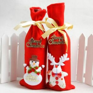 Red-Wine-Bottle-Cover-Bags-Snowman-Santa-Claus-Christmas-Decoration-Sequins