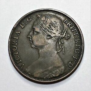 1891-Great-Britain-Penny-Queen-Victoria-KM-755-Very-Nice