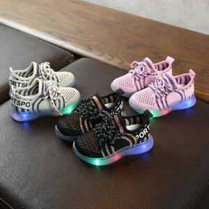 Children Kids Baby Girls Boys Mesh Shoes Led Light Luminous Sport Sneakers Shoes