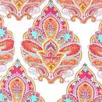 Cynthia Rowley Moroccan Queen Quilt Set Aqua Orange Paisley White Cotton Floral