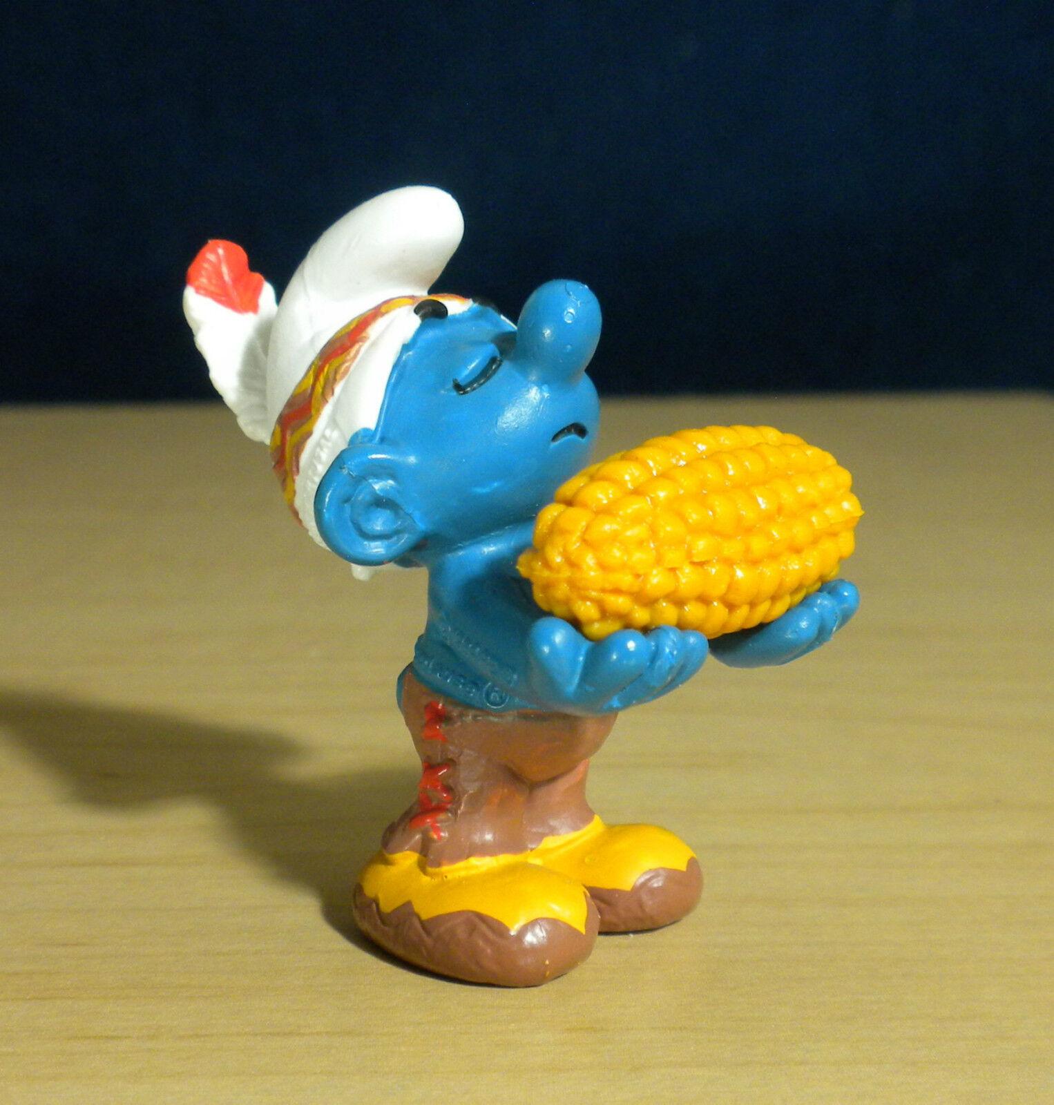 Smurfs 20197 Thanksgiving Corn Smurf Indian Rare Vintage Figure Toy PVC Figurine