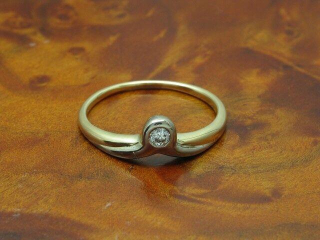 14kt 585 bicolor gold Ring mit Brillant Solitär Besatz   Diamant   2,7g   RG56,5