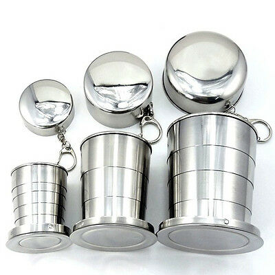 2oz 6oz 10oz Folding Collapsible Stainless Steel Cup Travel Camping Outdoor