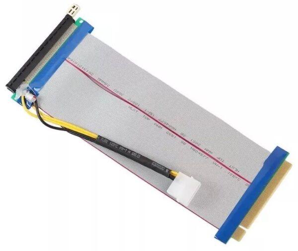 16x To 16x Pci-e Extension Flex Pci 12v Molex Powered Riser Ribbon Cable 20cm Nieuwste Technologie