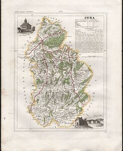 Map Of France Jura.1841 Antique Map Monin France H Col Departments Jura Dole Poligny