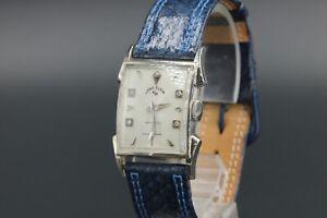 LORD-ELGIN-Handaufzug-14K-Weissgold-Uhr-Ref-4534-Diamant-Zifferblatt-40er-Jahre