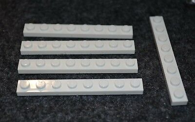 1x8 White Plate Bricks with Edge ~ New Lego Parts ~ Space 5