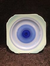 LOVELY ART DECO SHELLEY POTTERY HARMONY BLUE CIRCLES BANDED CAKE PLATE EX COND
