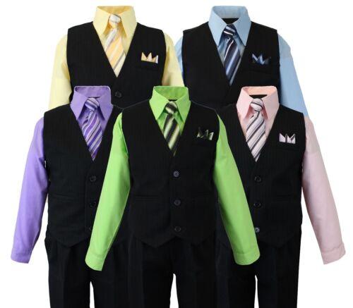 Formal Boys Pinstripe Vest Suit Set with Dress Shirt Vest and Pants 2T-14 Tie