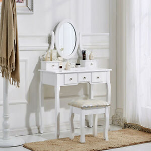 White-Dressing-Table-Set-with-Stool-and-Adjustable-Oval-Mirror-Bedroom-Furniture