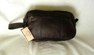 DAVID-KING-JACARA-Dark-Brown-Leather-Travel-Shaving-Overnight-Case-NEW-NWT