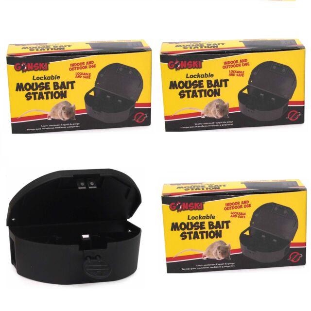 3 X Mini Mouse Bait Lockable Station Pest Control Box