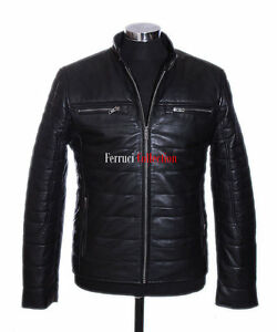 Style Souple Ryland Cuir Hiver Doudoune Hommes Veste Noir Agneau Vrai Chaud Pour qxBUI1