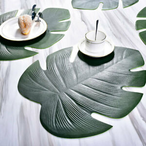 Fan-Leaf-EVA-Placemat-Coasters-Dining-Table-Mat-Green-Artificial-Plant-Pad-Decor