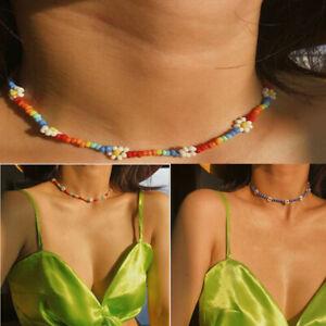 Fashion-Women-Beads-Flower-Choker-Collar-Pendant-Chain-Bib-Necklace-Boho-Jewelry