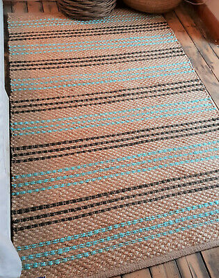 Teal Pale Turquoise Natural Rustic Hand woven rug Reversible Natural Fibres Large 150x215cm Seagrass Beige