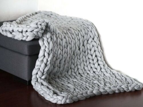 Winter Warm Hand Knitted Chunky Soft Blanket Thick Line Throw Over Bed Bulky