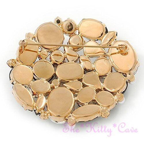 Vintage Deco Estilo Negra Transparente Cristal Perla de Oro Plt Broche Pin Cluster Corsage