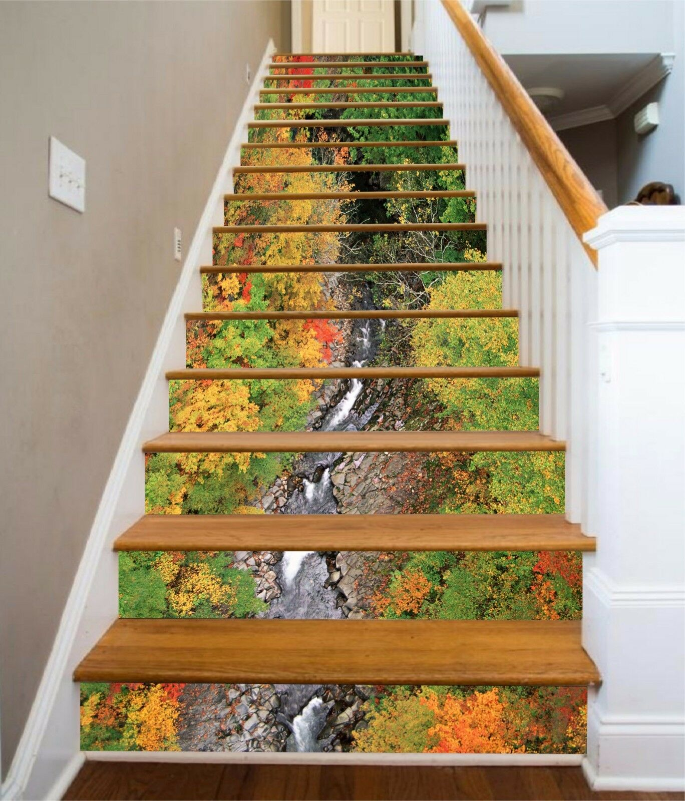 3D Autumn tree 37 Stair Risers Decoration Photo Mural Vinyl Decal Wallpaper UK