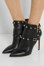 Valentino Rockstud textured-leather ankle boots Black Size 39 1/2