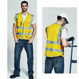 Vests-For-Men-039-s-Cargo-Use-Work-Multi-Pockets-Golden-Safety-Reflective-Waistcoats