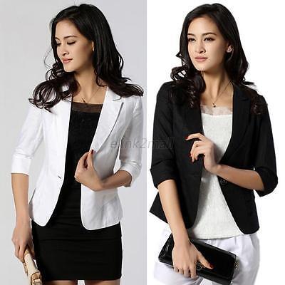 New Fashion Women Blazer 3/4 Sleeve One Button Short OL Suit Coat Jacket Outwear