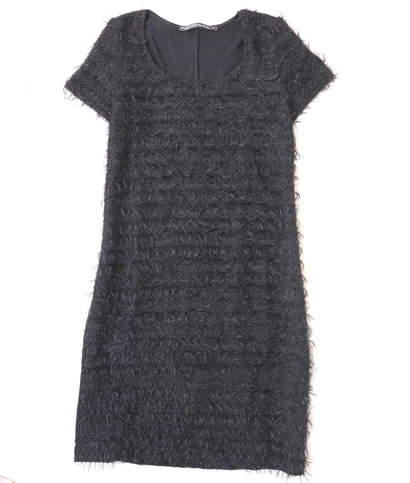 Mado et les Autres Plüsch Shaggy Teddy Mini Stretch Kleid black XS 32 34 36
