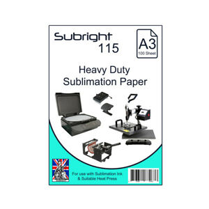 Details about Sublimation Paper Subright A3 115 Heavy Duty Dye-Sublimation  Paper 100 Sheets