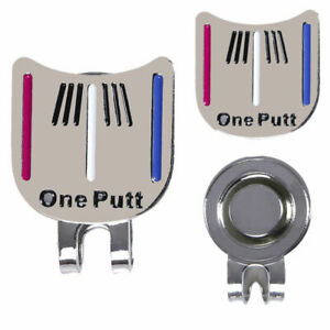 One-Putt-Golf-Alignment-Aiming-Tool-Ball-Marker-Magnetic-Visor-Hat-Clip-Alloy-Fa