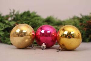 Gioielli-Albero-di-Natale-Palle-Gold-Rosa-Set-3-Pz-Soffiato-a-Bocca