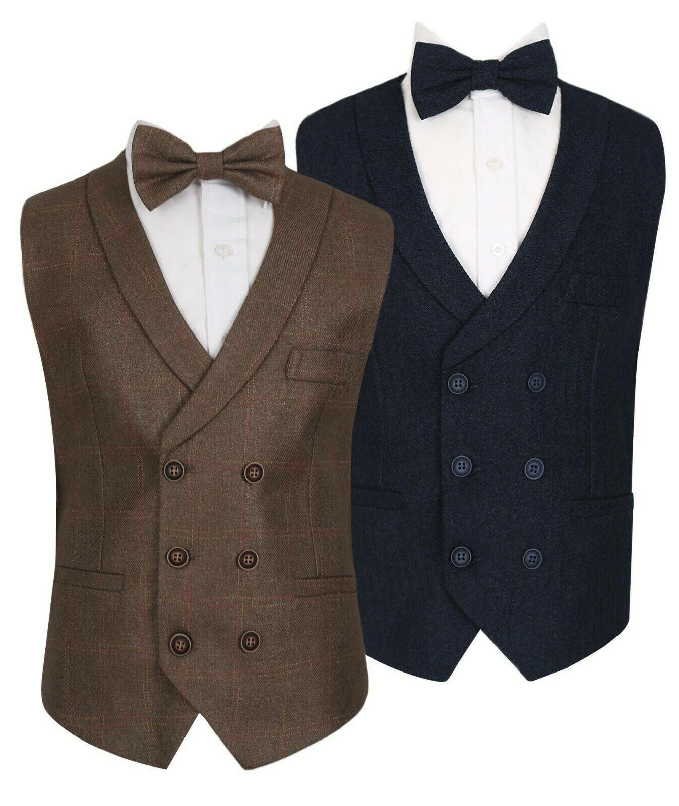 Flamingo Men/'s Boys Double Breasted Tweed Check Waistcoats Vests Casual Sets