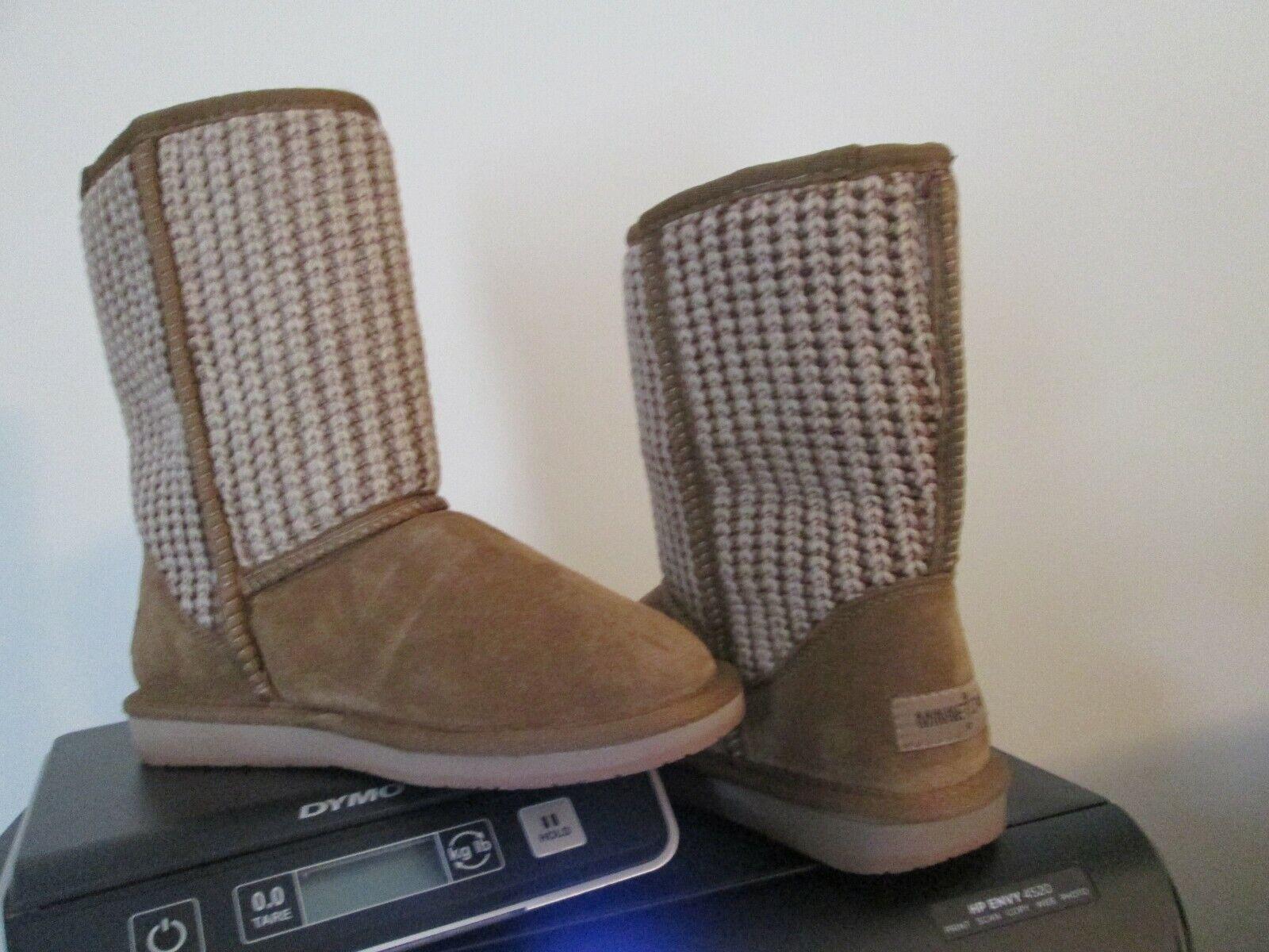 Minnetonka Tan Suede Leather Mid Calf Boots Women's Size 6 nwob sheepskin lined