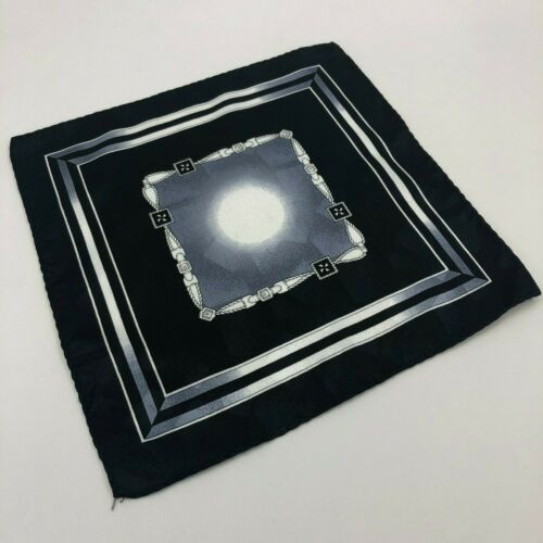 Black /& Silver with Buckle Designed Necktie w// Handkerchief Tie /& Hanky Set