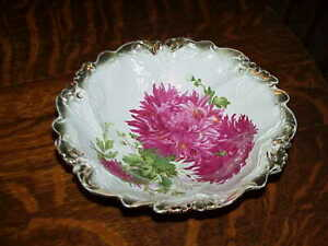 PS-Sorau-Gilded-Porcelain-Serving-Bowl-Antique-Germany-Red-Floral-034-Asters-034-9-5-034