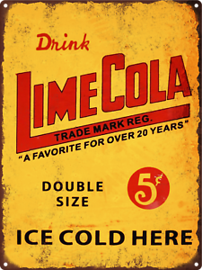 "Drink Lime Cola Soda Pop Shop Vintage Look Man Cave Metal Sign Repro 9x12/"" 60401"