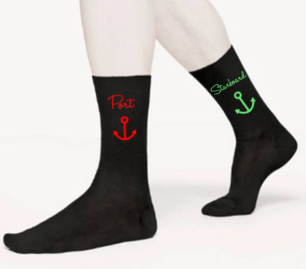 PORT STARBOARD NOVELTY MENS SOCKS CAPTAIN CREW BOAT FATHERS DAY BIRTHDAY GIFT