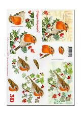 LeSuh 3D Motivbogen Etappenbogen 3D Bild  Vogel Rotkehlchen (097) Grusskarte