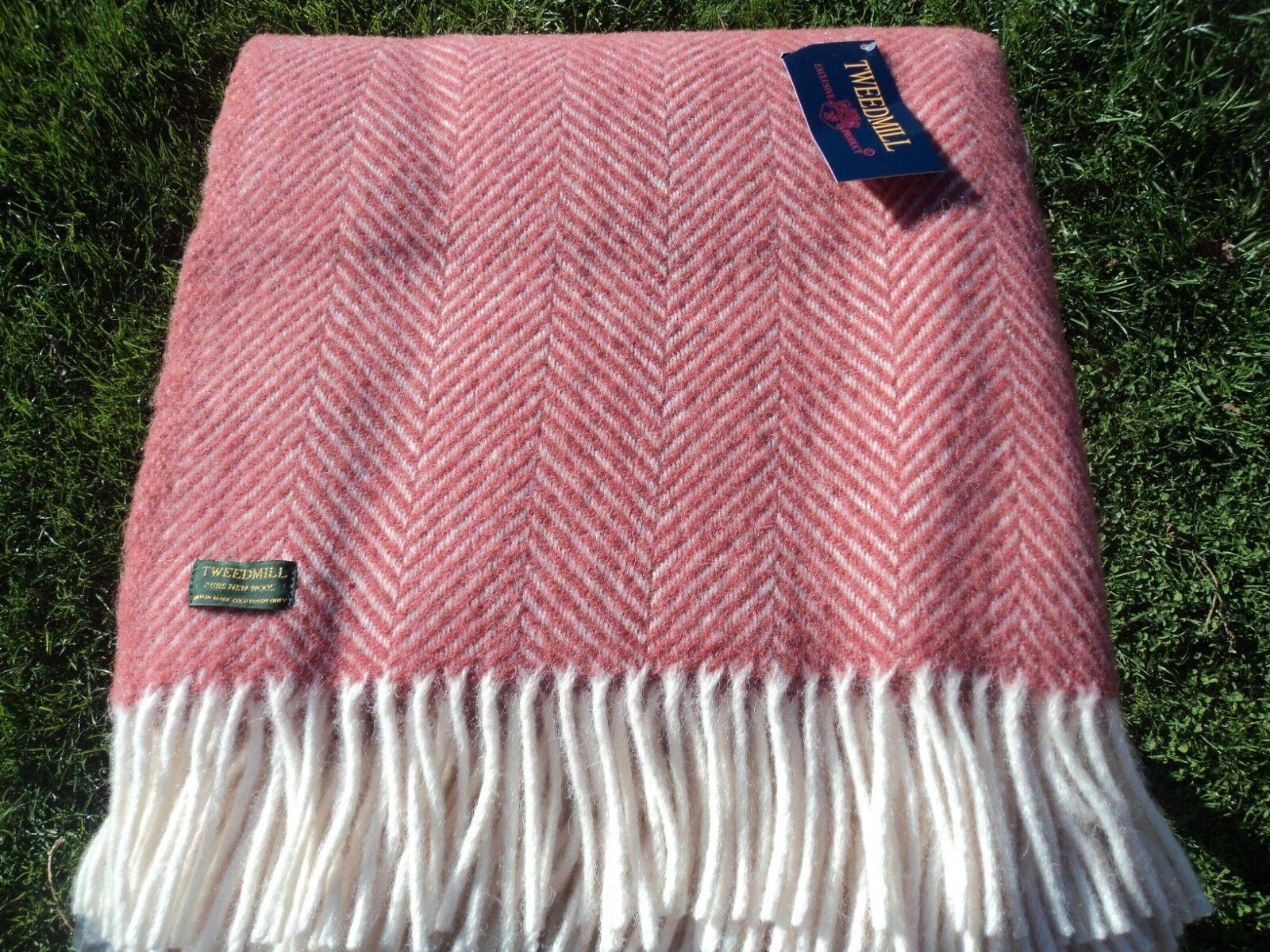 Tweedmill pure laine Plaid/couverture vierge Plaid/couverture laine motif FISHBONE-Cranberry afc680