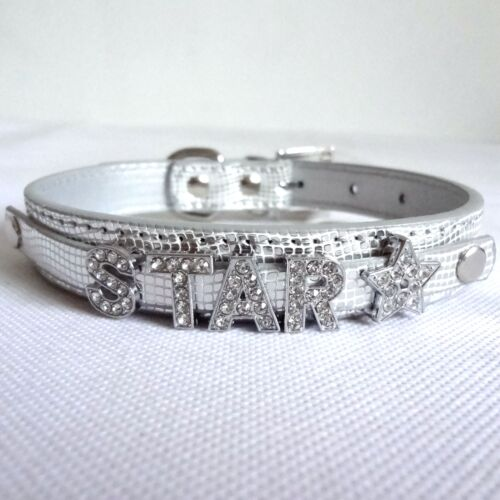 Bling Rhinestone Name DIY Personalized Pet Collar Leather Dog Cat Puppy Collar
