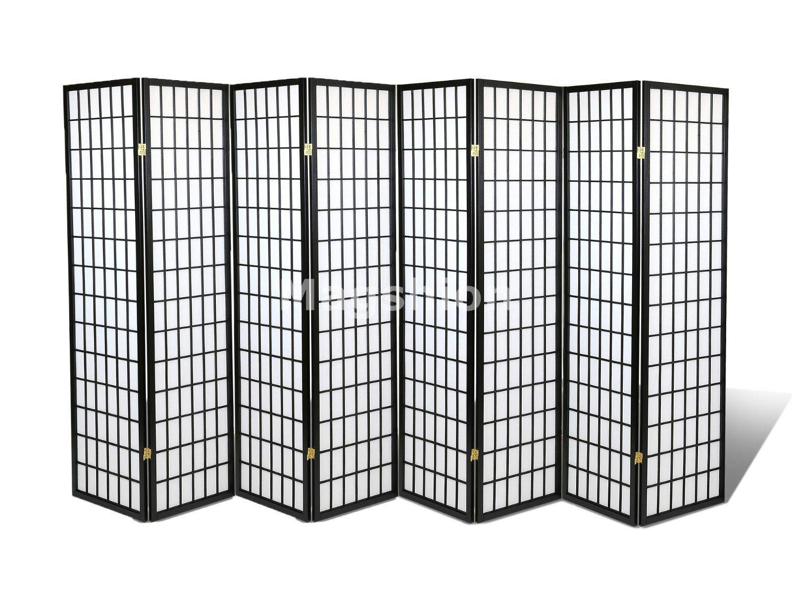 """6 /& 8 Panel Japanese Oriental Room Divider Privacy Wall Wood and Rice Paper 70/""""H"""