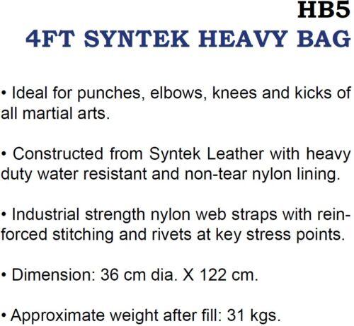 FAIRTEX HB5 4FT SYNTEK HEAVY BAG KICK PUNCHING TRAINING BOXING UN-FILLED *