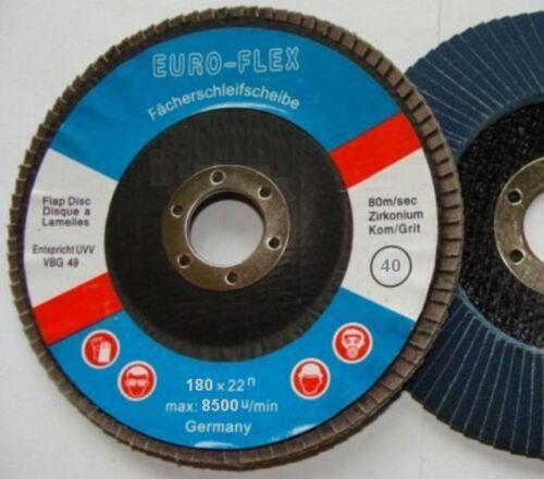 5x matières-disque abrasif EUROFLEX 180 x 22 zircon k40 schruppscheibe 2-Main-FLEX
